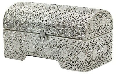£21.99 • Buy Antique Looking Large Chest Silver Trinket Jewellery Box Jewelry Storage Chest
