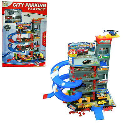 4 Storey Garage City Parking Playset With 4 Cars, Helicopter And Accesso Toy NEW • 27.99£