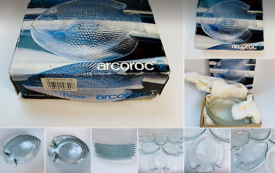 £24.99 • Buy 6 Vintage Arcoroc French Glass Fish Plates In Original Box
