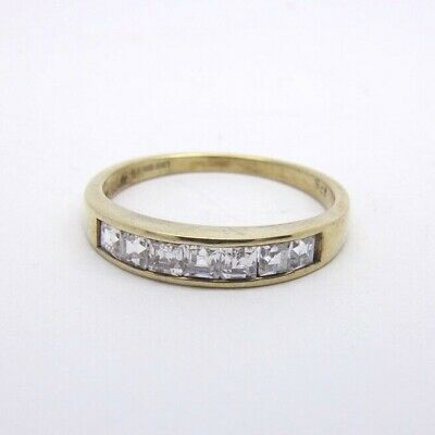 CZ Half Eternity Ring - 9ct Yellow Gold - UK Size O • 79.99£
