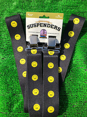 USA Work Trouser Braces / Suspenders 2  Heavy Duty One Size  SMILEY FACE  • 12.99£