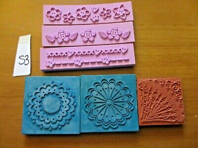 6 Foam Rubber Stamps - 3 Long Borders / 3  Circular Patterns (S3) • 3.99£