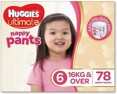 AU113.87 • Buy Huggies Ultimate Nappy Pants ,Girls, Size 6 Junior (16+kg), 78 Count