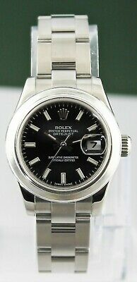 $ CDN5674.87 • Buy ROLEX  Ladies 26MM Stainless DateJust 179160 Black Index Watch Box And Papers