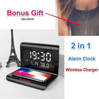 AU36.50 • Buy Alarm Clock Wireless Charger Smart 10W Charging Dock For IPhone 11/ X Samsung S9
