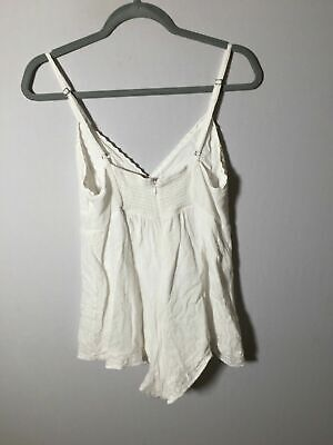 AU25 • Buy Tigerlily Womens White Playsuit Romper Size 12 Boho Rayon Good Condition
