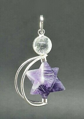 Amethyst Crystal Merkaba Pendulum (Removable) Dowser Geometric Healer Energy UK  • 9.49£