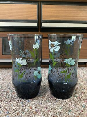 $30 • Buy Vintage Libby Glasses Pair Of Blue Floral Tumblers Mid Century Modern M Dia