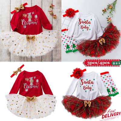 Toddler Baby Girls Christmas Romper Dress Outfits Costume Xmas Skirt Clothes Set • 10.99£