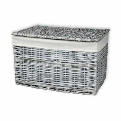 Grey Wash Wicker Storage Trunk Woven Basket Chest Blanket Toys Shoes Linen Box • 27.50£