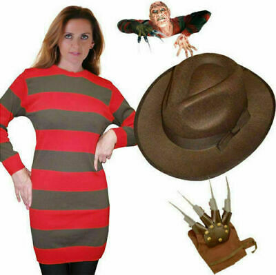 Ladies Halloween Freddy Krueger Costume Hat Jumper Glove | Night At ELM Street • 16.80£
