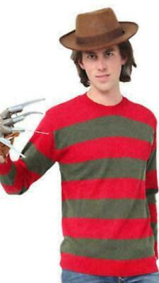 Men Freddy Krueger Horror Night At ELM Street Costume Hat Jumper Glove Party Set • 15.49£