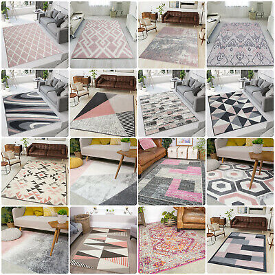 Modern Blush Pink Rugs Small Large Transitional Trellis Rug Long Hallway Runners • 20£