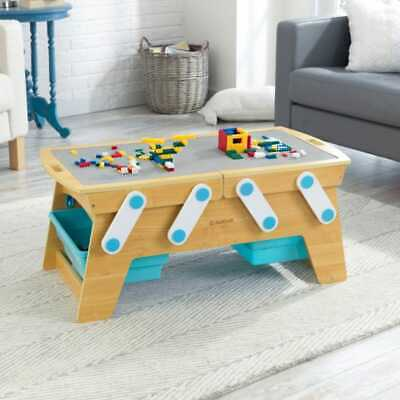 Kidkraft Building Bricks Play N Store Table | Wooden Table With Lego Top & Tubs • 94£