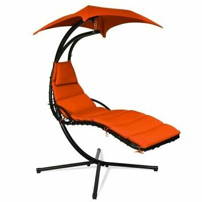 Durable Hanging Stand Orange Chaise Lounger Swing Chair W/Pillow- • 201.40£