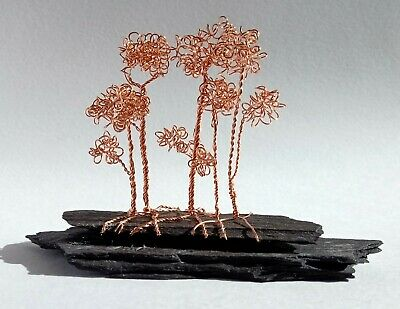 Wire Tree Sculpture. Bonsai Forest. Handmade. OOAK. Miniature Trees. Copper. • 16£