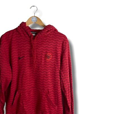 Vintage Nike Manchester United Zig Zag Embroidered Swoosh Hoodie In Red Size M • 26£
