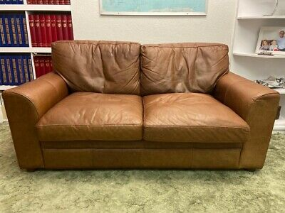 Brown Leather 2 Seater Sofa By Halo The Vintage Tanning Company • 345£