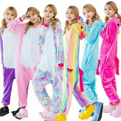 AU25.96 • Buy UK Adult Unicorn Unisex Women Kigurumi Animal Cosplay Costume Onesi886 Pajamas