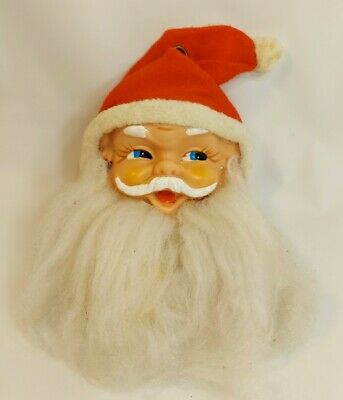 Vintage Musical Santa Face Head Wall Hanger Pull String Jingle Bell Japan WORKS  • 15.47£