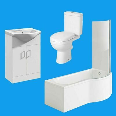 Compact P Shaped Bathroom Suite Toilet Basin Shower Screen Bath Panel Set OPTION • 103.95£