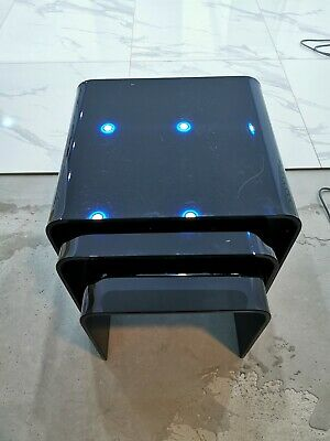 Black Glass Nest Of Tables X 3 Very Heavy  LIVING ROOM FURNITURE • 35£