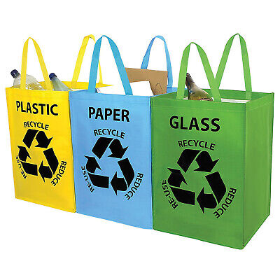Set Of 3 Recycling Recycle Bags Colour Coded Plastic Glass Paper Storage Bin Bag • 6.49£