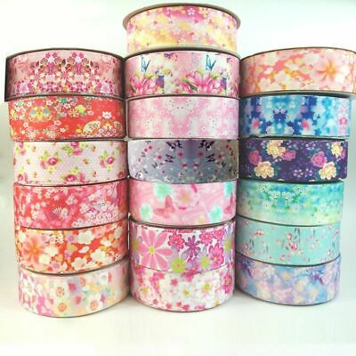 5yards/lot 25/38mm Ribbon Printed Lovely Floral Lace Satin Ribbons For Diy Bow • 7.15£