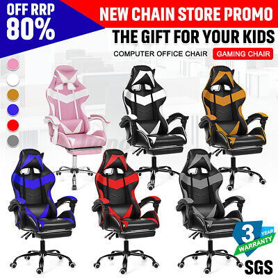 AU138.98 • Buy Executive Office Gaming Chair Recliner With Footrest Leather Computer Seat Racer