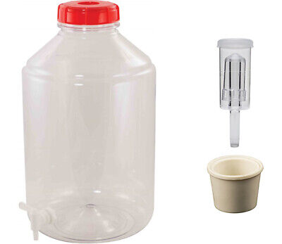 FerMonster Plastic PET 6 Gallon Wide Mouth Carboy - Stopper, Air Lock, Spigot • 22.80£