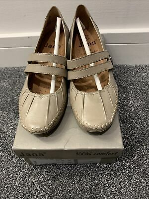 Jana Pepper Women's Buckle Shoes, Leather, Taupe, Size UK 5 • 40.99£