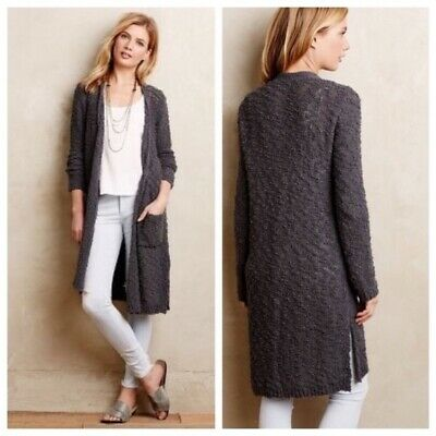 $ CDN45.81 • Buy Anthropologie $98 Knitted & Knotted Daybreak Duster Knit Cardigan Gray Size M