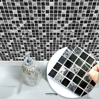 10Pcs 3D Mosaic Wall Tile Stickers Stick On Kitchen Wall Self-adhesive Bathroom • 7.88£
