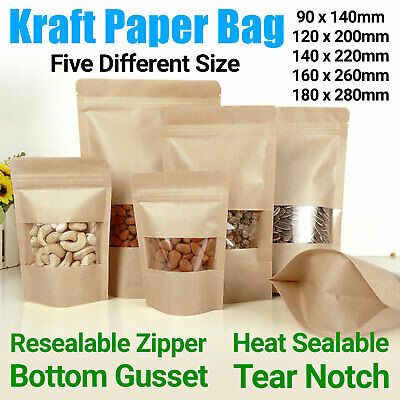 Kraft Paper Bag / Window Stand Up Pouch Zip Lock Resealable Heat Seal Display UK • 5.39£