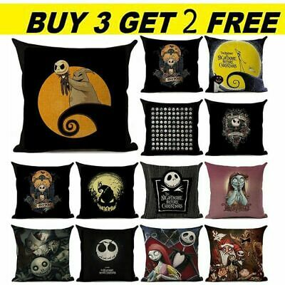 Nightmare Before Christmas Halloween Cushion Cover Pillow Case Flax Sofa Home  • 4.98£