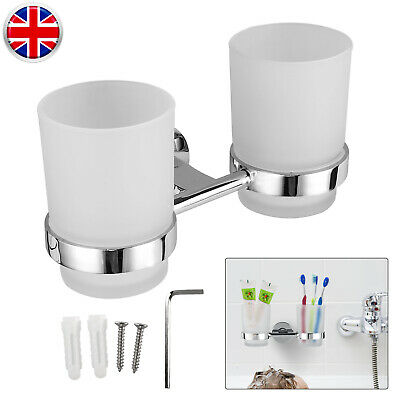 Double Toothbrush Glass Tumbler Cup With Holder Chromed For Bathroom Kitchen UK • 11.95£