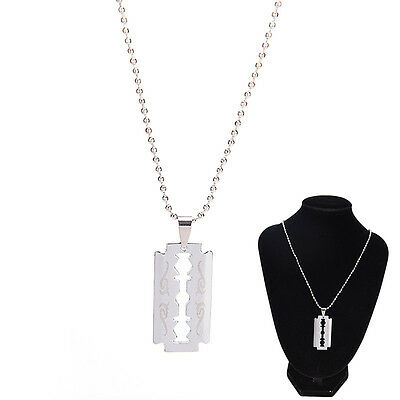 Men Favorite Stainless Steel Razor Blade Pendant Fashion Ball Chain Necklace PM • 3.53£