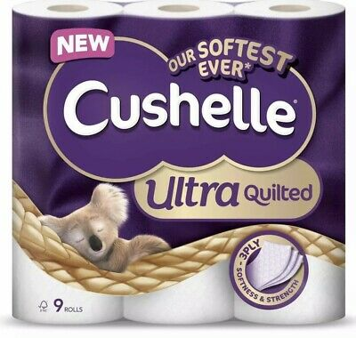 Cushelle Ultra Quilted 3 Ply Toilet Paper Tissue Roll 9 Rolls Luxury Soft Pack • 10.79£