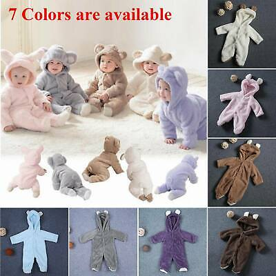 Newborn Baby Boys Girls Romper Hooded Bear Jumpsuit Warm Hoodie Bodysuit Outfit • 7.99£