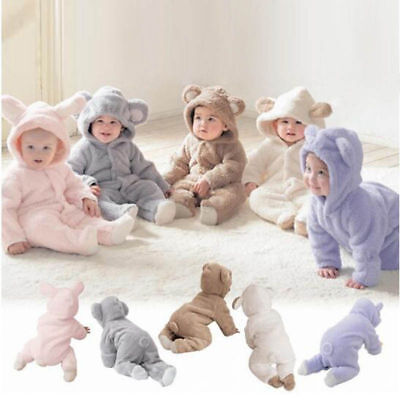Infant Baby Boys Girls Romper Hooded Bear Jumpsuit Warm Hoodie Bodysuit Outfit • 7.99£