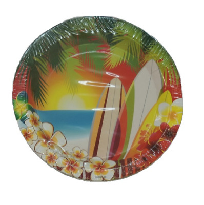 Hawaii Luau Tropical Surfing Party Small Round 7 Inch Party Cake Dessert Plates • 5.01£