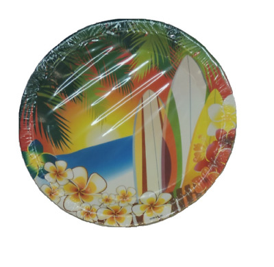 Hawaii Luau Tropical Surfing Party Large 9 Inch Round Lunch Dinner Plates • 4.29£