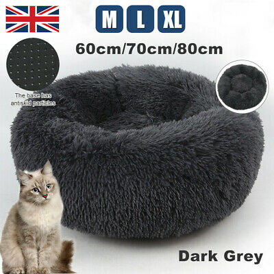 M-XL Pet Dog Cat Calming Bed Comfy Shag Warm Fluffy Nest Mattress Fur Donut Pads • 11.99£