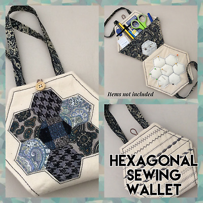 PATCHWORK: HEXAGONAL SEWING WALLET KIT - All Fabrics And Notions • 12.97£