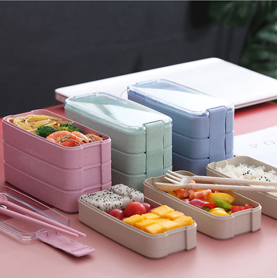 3-Layer Microwave Bento Box Lunch Boxe Containers Food Storage Lunch Picnic Case • 6.51£