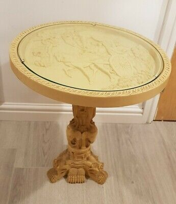 Antique 1920s Oriental Japanese Chinese Occasional Side Table Faux Ivory Stone • 70£
