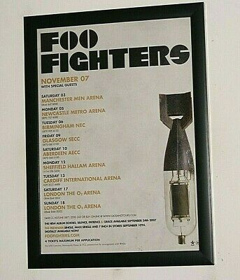 FOO FIGHTERS Framed A4 2007 UK Echoes Album TOUR Original Band Promo Poster   • 12.99£