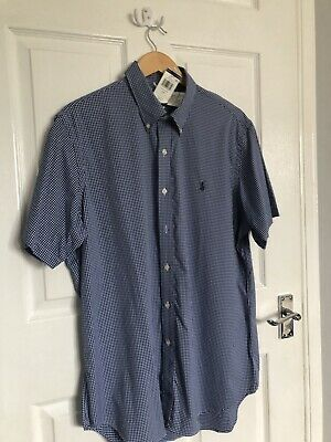 Mens Genuine Ralph Lauren Custom Fit Blue Gingham Short Sleeve Shirt L Large • 35£