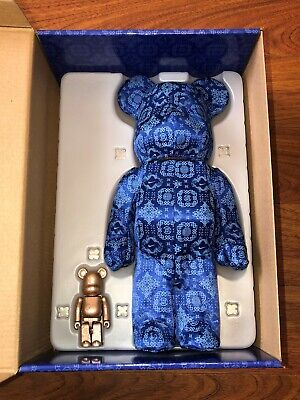 $409.99 • Buy Bearbrick X Clot X Nike 100% & 400% Set Royale University Blue Silk Brand New