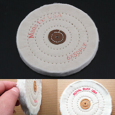150mm  6  Sewn Stitch  Cotton Buffing Wheel Accessory Mop Bench Grinder UK • 5.39£
